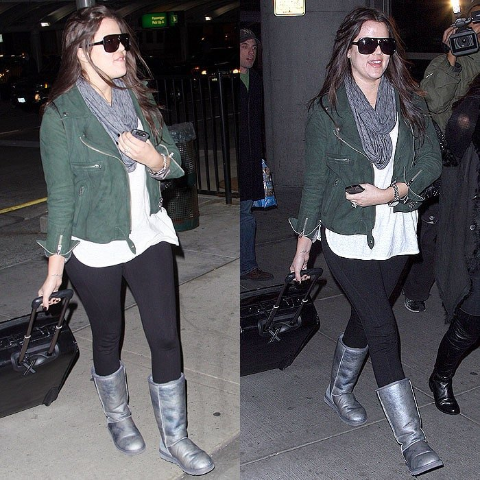 Khloe Kardashian wears leggings and uggs at JFK