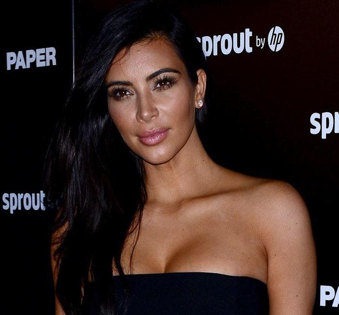 Kim Kardashian wearing a bandeau by Mugler