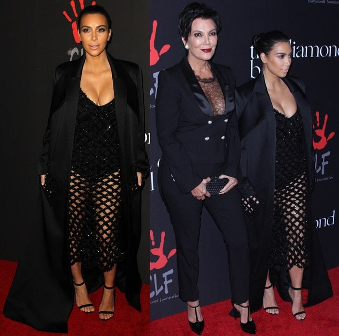 Kim Kardashian and Kris Jenner on the red carpet at the 2014 Diamond Ball held at The Vineyard in Beverly Hills on December 11, 2014