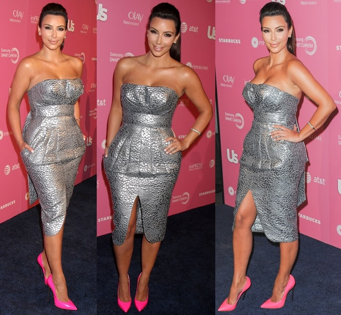 Kim Kardashian paired the pink pumps with a silver bandeau dress by Catherine Malandrino featuring a brocade detail and a super-sexy split