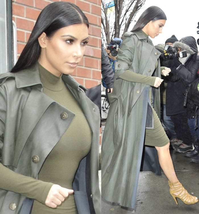 Kim Kardashian wears an olive-colored dress and a Lanvin trench coat