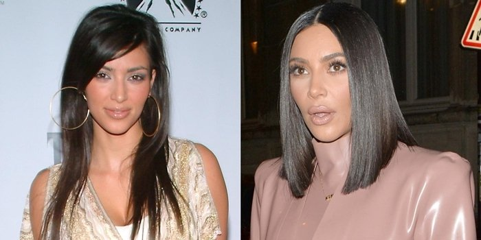 Kim Kardashian before and after rumored plastic surgery: In 2006 at the release party for the Playstation2 game 'The Godfather' (L) and in 2020 during Paris Fashion Week (R)