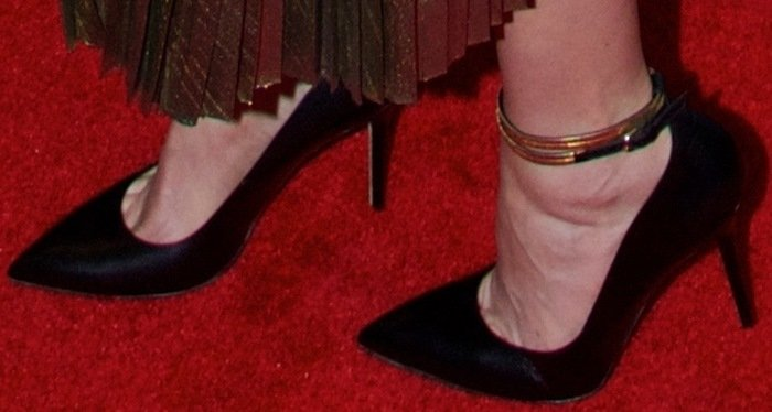 Krysten Ritter shows off her feet inBrian Atwood Chance ankle-wrap pumps