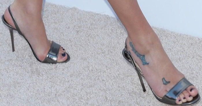 Lea Michele shows off her feet in Jimmy Choo sandals