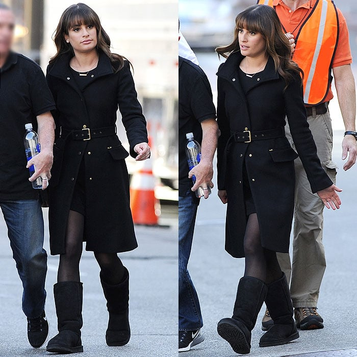 Lea Michele paired a tailored belted coat with clunky ugg boots like a pro
