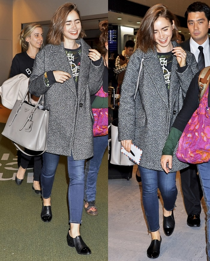 Lily Collins wearing ultra-skinny jeans with ankle boots