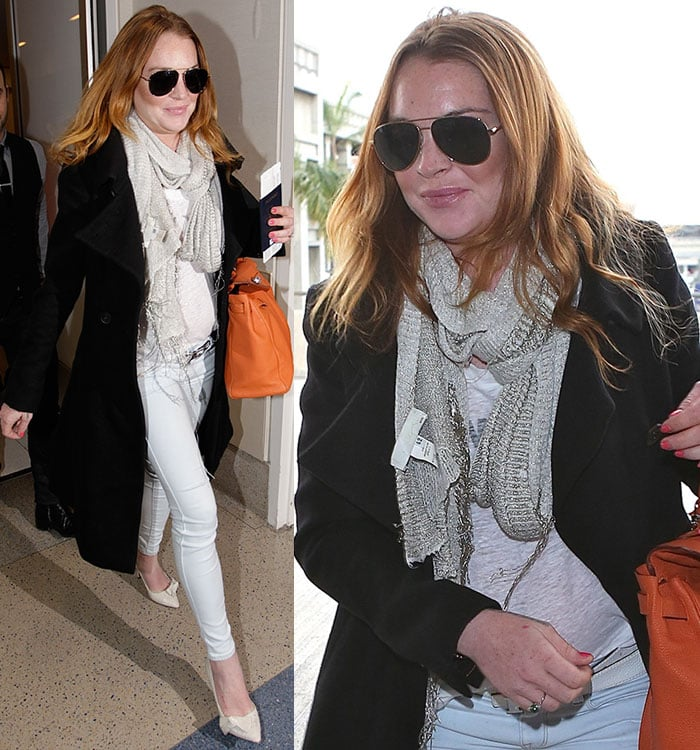 Lindsay Lohan styled a black coat with a scarf, a gray top, and skinny jeans