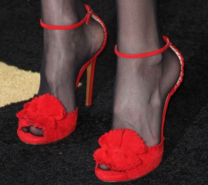 Liv Tyler's red Tabitha Simmons 'Ruby' sandals
