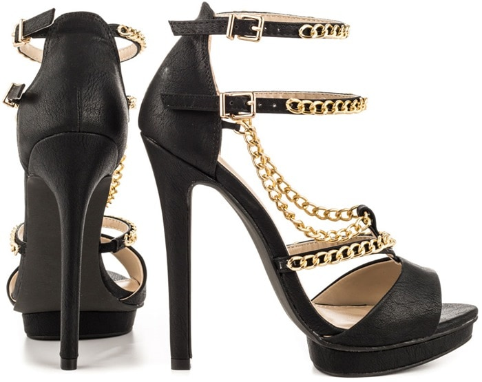 Lysandra Gold Chain Heels