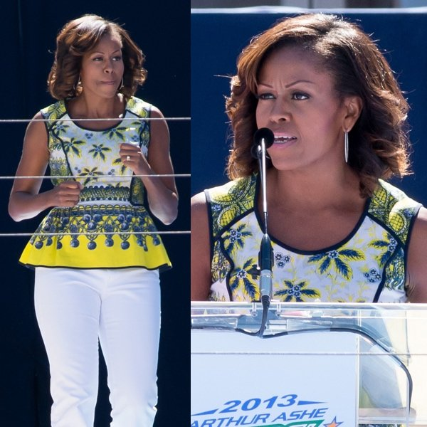Michelle Obama styled her top with white wide-legged pants