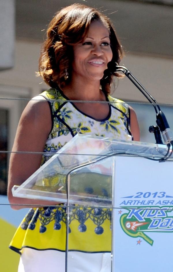 Michelle Obama's sunny sleeveless peplum top