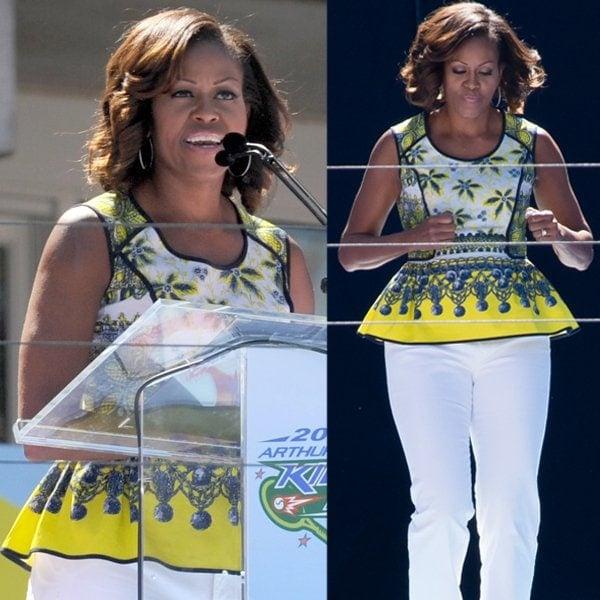 Michelle Obama's Prabal Gurung exposed binding printed peplum top