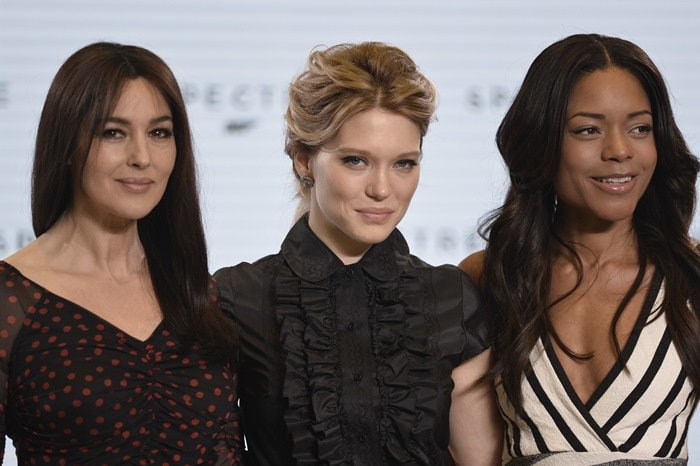 Naomie Harris, Lea Seydoux, and Monica Bellucci at the Bond 24 press conference and photo call