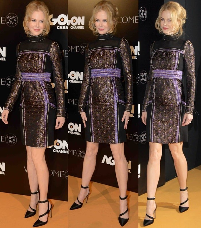 Nicole Kidman flaunts her toned legs in a jacquard dress from the Prada Spring 2015 collection