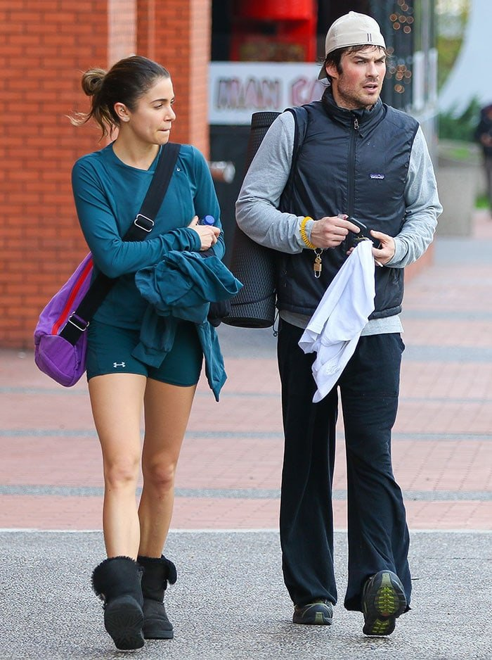 Nikki Reed and Ian Somerhalder going to and leaving a yoga class