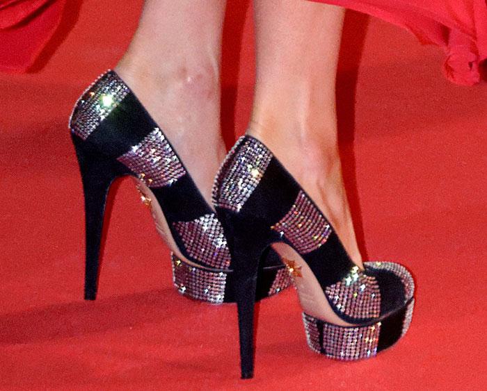 Paris Hilton's black suede shoes featurestrass crystal embellishments