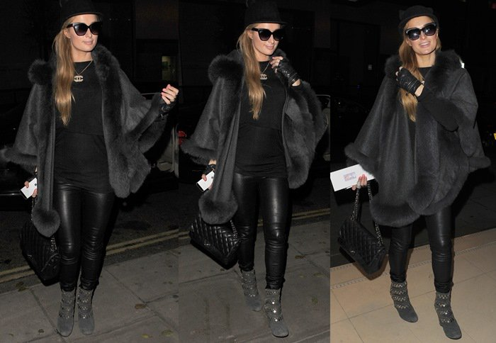 Paris Hilton paired sexy leather pants with a cat ears hat by Helene Berman
