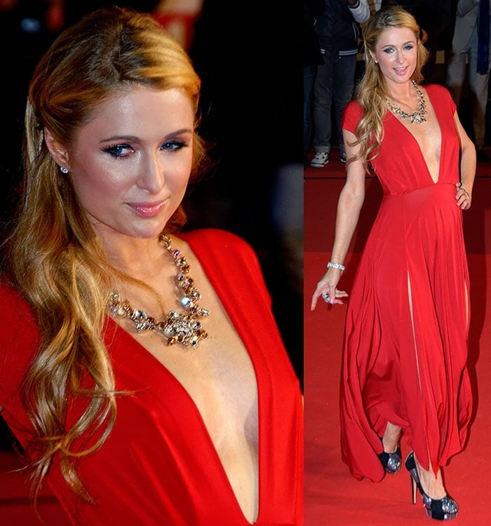 Paris Hilton'sblonde locks fell over her shoulders and were tied only at the sides