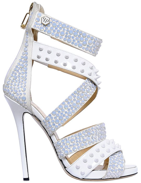 Philipp Plein Crystals-and-Studs-Embellished Leather Sandals