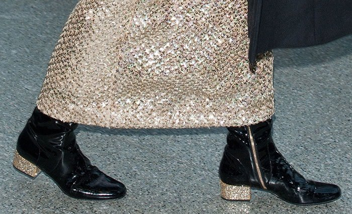 Pixie Lott wearing glitter-covered Saint Laurent boots