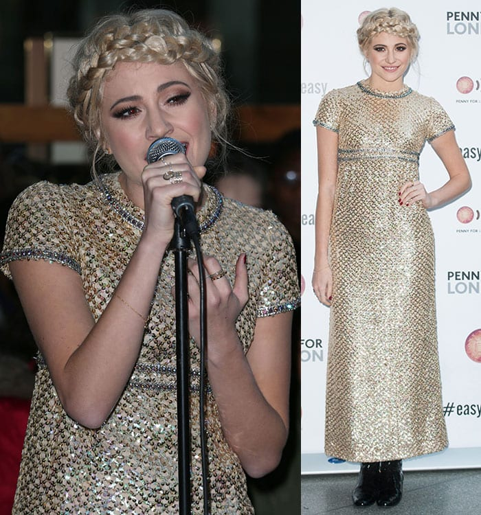 Pixie Lott wore her blonde locks styled in a messy updo with a halo braid