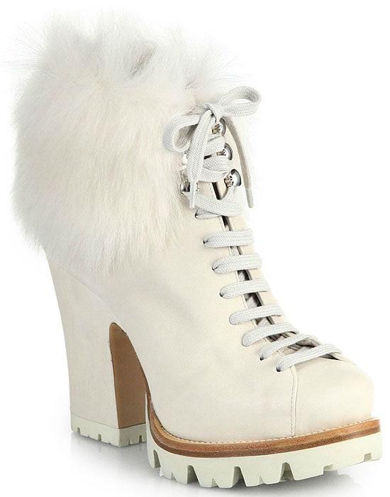 Prada Lug-Sole Leather & Fur Ankle Boots