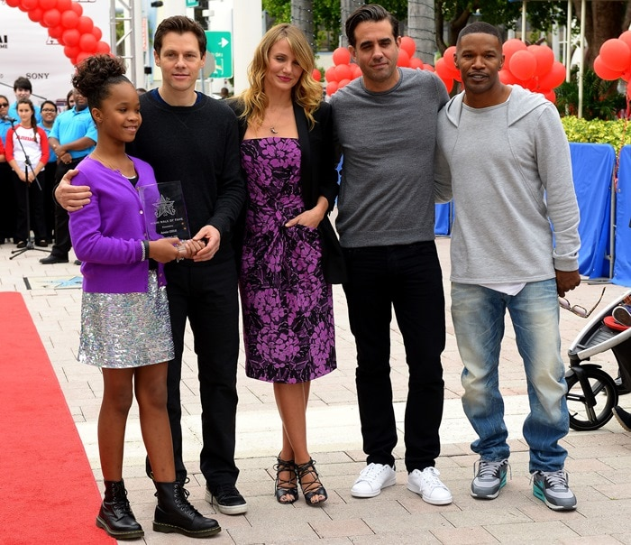 Cameron Diaz was joined by her co-stars Quvenzhane Wallis, Bobby Cannavale, and Jamie Foxx