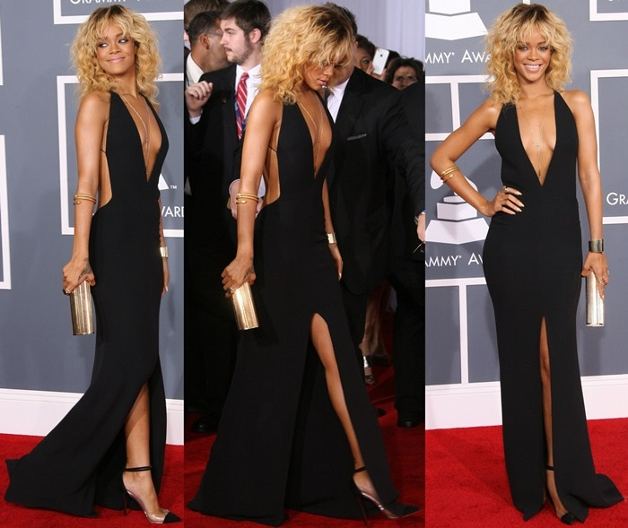 Rihanna paired her black 'Bis Un Bout' pumps with a black silk custom gown from Giorgio Armani