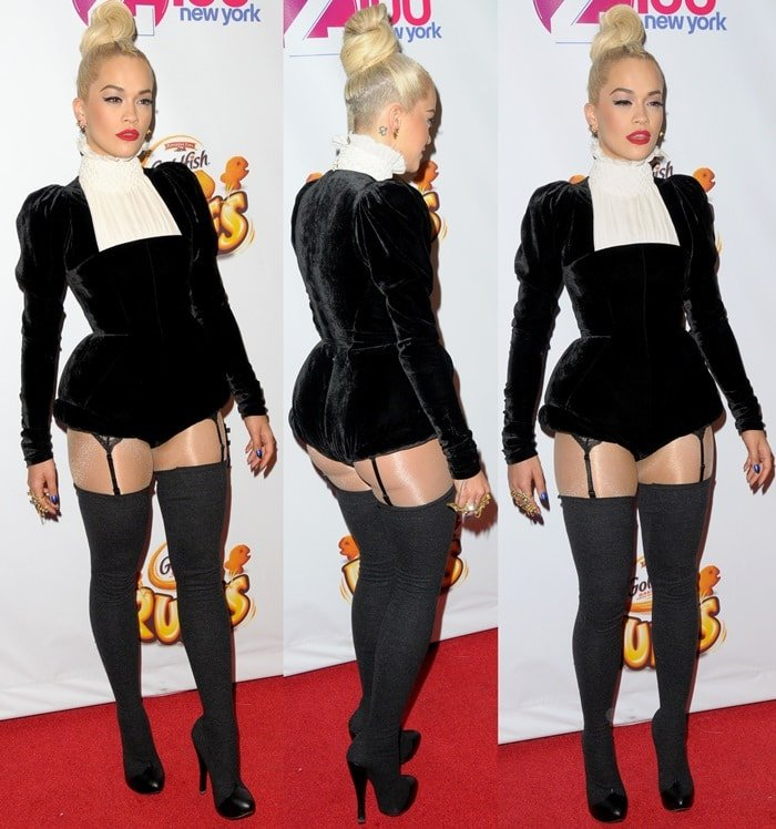 Rita Ora rocks over-the-knee boots on the red carpet at the 2014 Z100 Jingle Ball