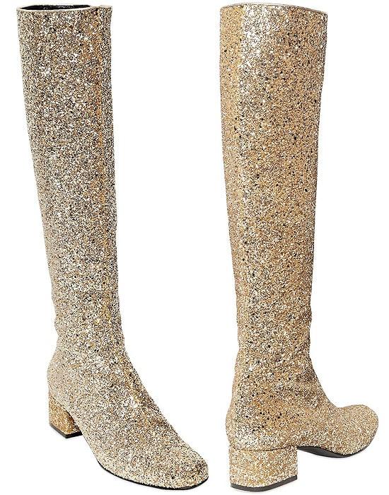 Saint Laurent Babies Glittered Leather Boots
