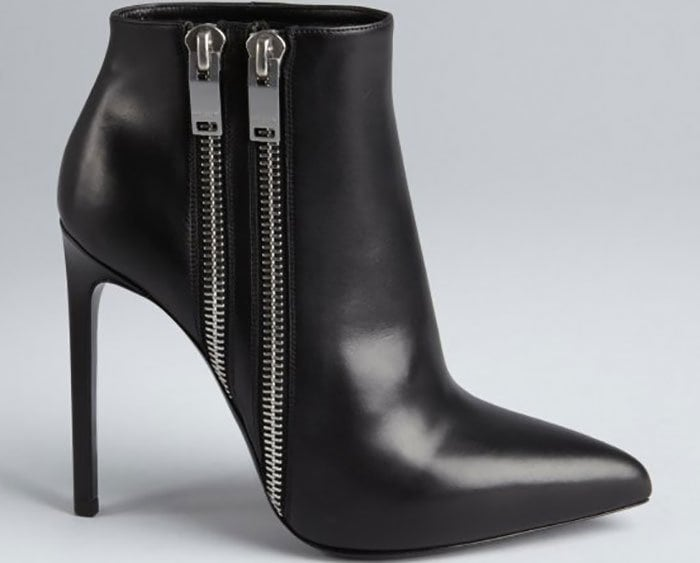 Black Leather Double-Zipper Pointed-Toe Ankle Boots