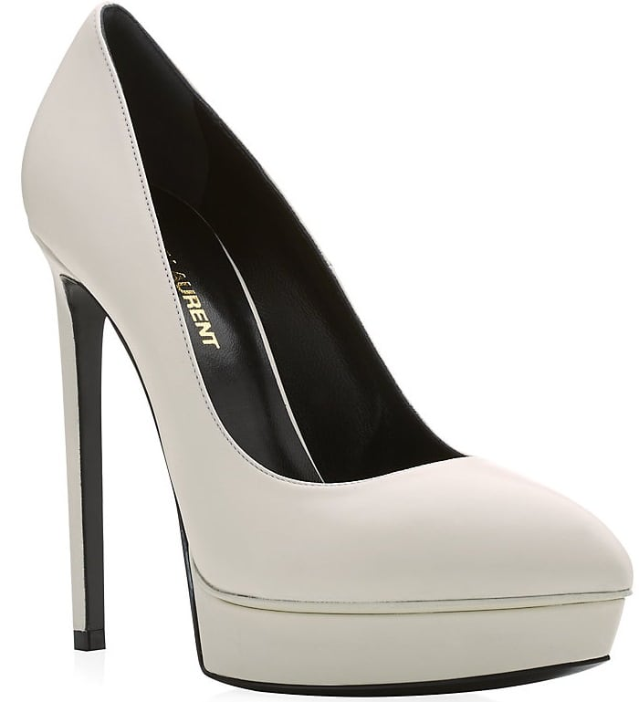 Saint Laurent Janis Platform Pumps in White