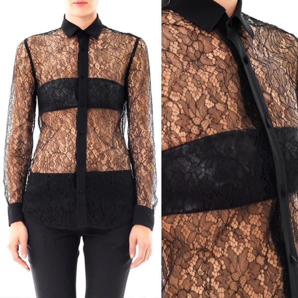 Saint Laurent Silk and Lace Shirt
