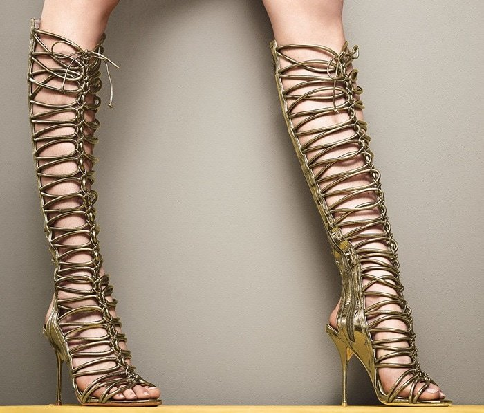 Sophia Webster Clementine Strappy To-the-Knee Gladiator Sandal Boots