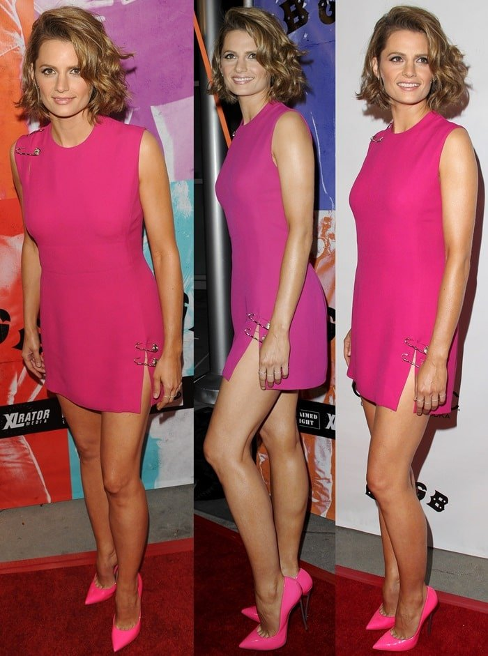 Stana Katic styled her sculpted heels with a sexy pink mini dress by Versace featuring signature pin accents