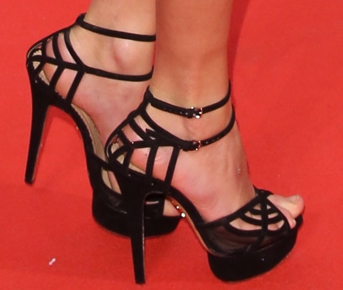"""Taylor Swift wearing suede-and-mesh platform """"Octavia"""" sandals by Charlotte Olympia"""