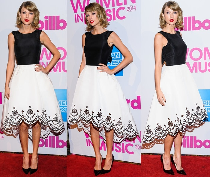 Taylor Swift flashes her sexy legs in a feminine black-and-white dress from Oscar de la Renta