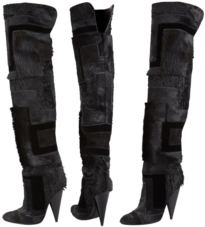 5c46e73b45b Tom Ford Geometric Patchwork Fur Over-the-Knee Boot. Who do you think looked  better ...