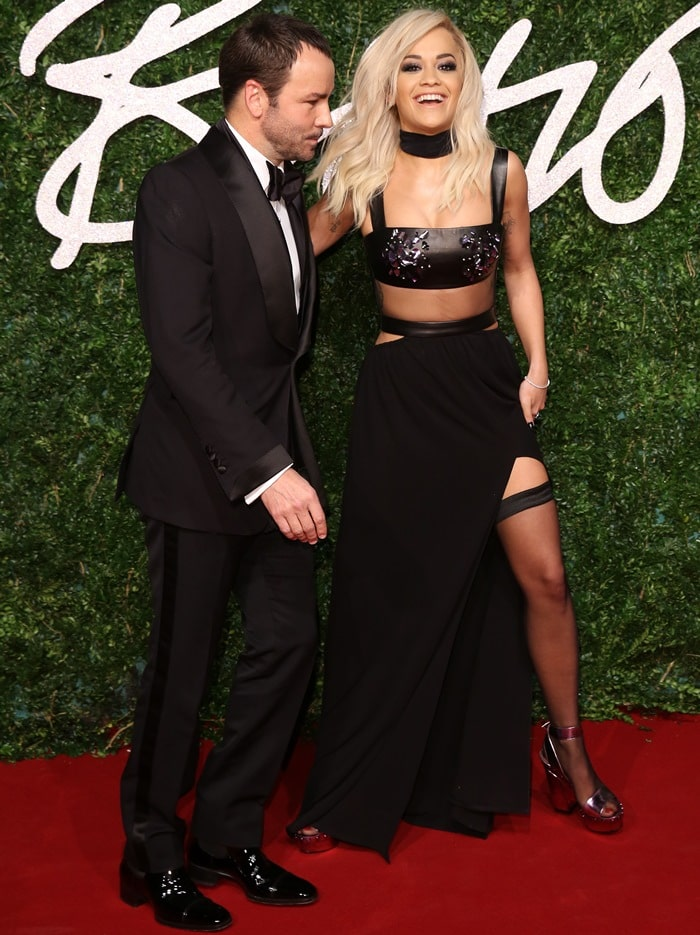Rita Ora accessorized with sexy sheer thigh-high stockings