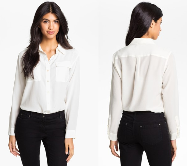 Two by Vince Camuto Silk Utility Shirt
