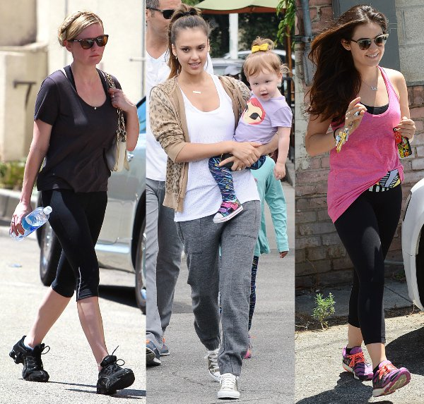 Celebrities keeping fit (L-R): Kirsten Dunst, Jessica Alba, and Lucy Hale