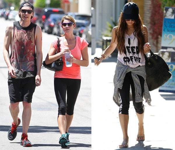 Hollywood works out (L-R): Jamie Campbell Bower with Ashley Greene and Vanessa Hudgens