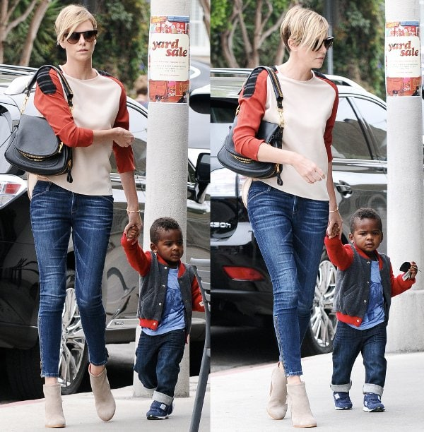 Charlize Theron and her son Jackson head to BLD in Hollywood, California to have lunch on September 20, 2013