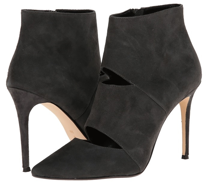 Dune London Cutout Booties in Gray Suede