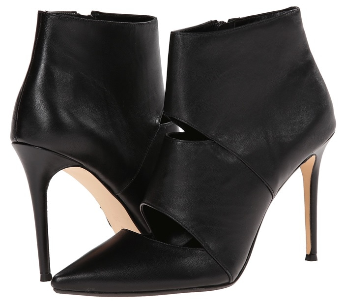 Dune London Cutout Booties in Black Leather