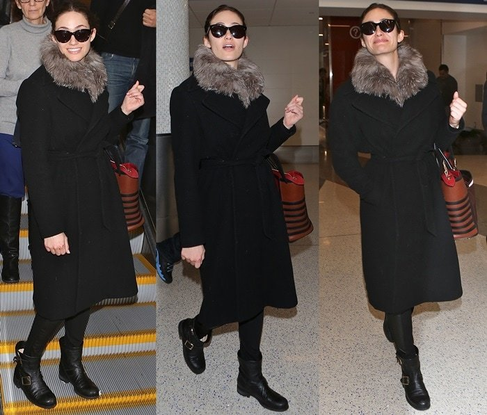 Emmy Rossum a very chic fur-trimmed coat worn over slim black pants and Jimmy Choo biker boots