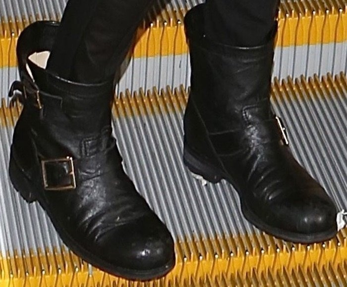 Emmy Rossum rockingJimmy Choo biker boots