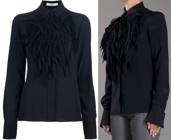 Givenchy Layered Ruffle Panel Blouse in Black