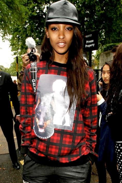 Jourdan Dunn's Givenchy Doberman and Photo sweatshirt
