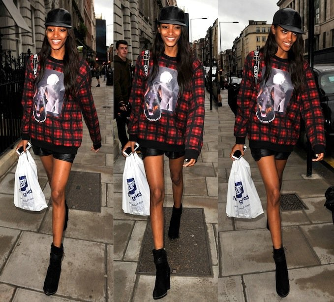 Jourdan Dunn attending the Topshop Unique show at London Fashion Week on September 15, 2013